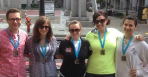 Remo, Amy, Kristin, Me, and Whit...rocking our well deserved medals!