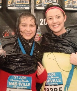 The Nashville Half Marathon: 13.1 miles in a downpour. It was challenging in more ways than one, but Whit and I did it, and we motivated each other along the way. There is no way we would have been able to have done this without the other.