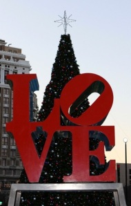 One of my favorite places decorated for Christmas…. Love Park in Philly!