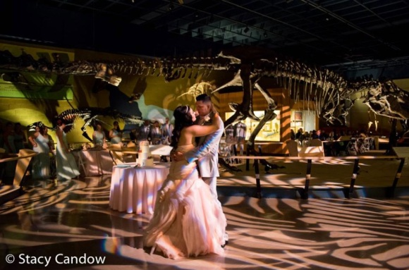 What an amazing shot our photographer Stacy captured....first dance photobomb with a dino!
